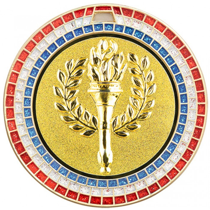 70MM VICTORY TORCH RWB GEM MEDAL - GOLD